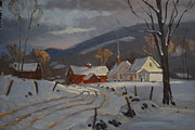 Berkshire Hills Posters Paintings - Hoosac Valley Farm by Len Stomski