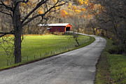 Country Road Digital Art Framed Prints - Hoosier Autumn - D007843a Framed Print by Daniel Dempster