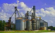 Rural Indiana Framed Prints - Hoosier Corn Silos  Framed Print by Rick DeCroes