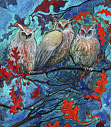 Bird Pastels - Hoot and the Family Tree by Jane Wilcoxson