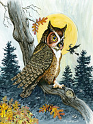 Moonlight Prints - Hooty Hoot Print by Richard De Wolfe