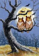 Bat Painting Posters - Hooty Whos There Poster by Richard De Wolfe