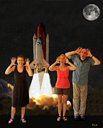 Kennedy Space Center Mixed Media Prints - Hoovler family scream Print by Eric Kempson