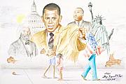 Barack Obama Drawings Metal Prints - Hope                                                  Metal Print by Sandra Pryer