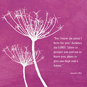 Bible Scripture Posters - Hope and Future Poster by Linda Woods