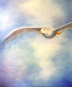 Flying Seagull Painting Framed Prints - Hope Framed Print by Annemeet Van der Leij