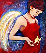 Angel Mixed Media Posters - Hope Poster by Claudia Fuenzalida Johns