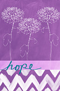 Purple Flowers Mixed Media Posters - Hope Poster by Linda Woods
