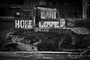Black And White City Prints - Hope Love Lovelife Print by Bob Orsillo