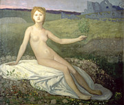 On A Branch Paintings - Hope by Pierre Puvis de Chavannes