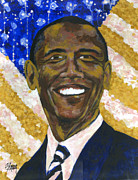 Barack Obama Painting Framed Prints - Hope Framed Print by Stan Kwong