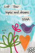 Bird Mixed Media Metal Prints - Hopes and Dreams Soar Metal Print by Linda Woods