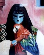 Macaw Art Paintings - Hopi Dances and the Red Macaw by Anastasia  Ealy