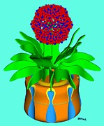 Self Posters - Hopi Pot Flower Poster by Buddy Paul
