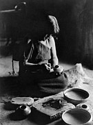 Edward Curtis Framed Prints - HOPI POTTER, c1906 Framed Print by Granger