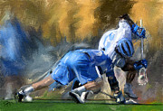 Lacrosse Paintings - Hopkins faceoff win by Scott Melby