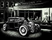 Americana Drawings Prints - Hopper Stopped Here Print by Bomonster