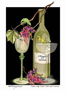 Champagne Paintings - Hoppie Hour by Anne Beverley