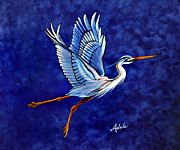 Great Blue Heron Paintings - Horeshios 2nd Arabesque by Adele Moscaritolo