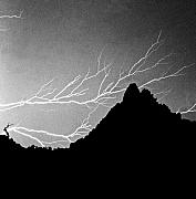 Lightning Prints - Horizonal Lightning BW Print by James Bo Insogna
