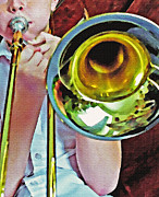 Trombone Mixed Media - Horn 2 by Steve Ohlsen