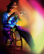 Jazz Pastels Posters - Horn Player 1 Poster by Mike Massengale