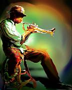 Jazz Posters Posters - Horn Player II Poster by Mike Massengale