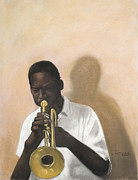 Horizontal Pastels - Horn Player by L Cooper