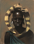 Black Art Pastels Prints - Horn Seller Print by L Cooper