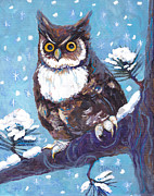 Cartoons Paintings - Horned Owl in Snow by Peggy Wilson