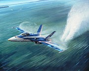 Jets Paintings - Hornet 20th Anniversary over Myall Lake NSW by Colin Parker