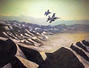 F-18 Painting Prints - Hornets over Afghanistan Print by Stephen Roberson