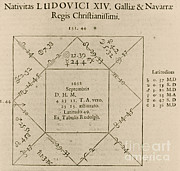 Horoscope Prints - Horoscope Chart For Louis Xiv, 1661 Print by Science Source