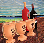 Wine Glasses Paintings - Horrizon Wines by John Pumphrey
