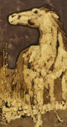 Batik Tapestries - Textiles Posters - Horse Above Stones Poster by Carol  Law Conklin
