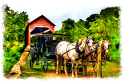 Horse And Buggy Posters - Horse and buggy in front of covered bridge Poster by Dan Friend