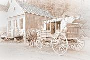 Old Building Framed Prints - Horse and Carriage Framed Print by David  Naman