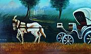 Xafira Mendonsa Prints - Horse And Carriage Print by Xafira Mendonsa