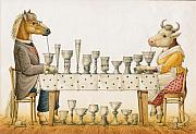 Party Drawings Metal Prints - Horse and Cow Metal Print by Kestutis Kasparavicius