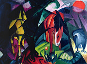 Red Horse Paintings - Horse and Eagle by Franz Marc