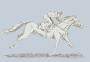 Horse Drawing Digital Art Posters - Horse and jockey Poster by Aloysius Patrimonio