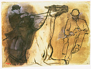 Edgar Drawings - Horse and Rider by Edgar Degas