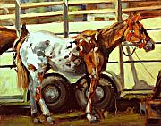 Wild Horse Paintings - Horse And Trailer by Brian Simons
