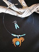 Horse Necklace Jewelry - Horse and Turquoise 2 W13 by Barbara  Prestridge