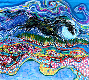 Colorful Landscape Tapestries - Textiles Posters - Horse Born of Moon Energy Poster by Carol Law Conklin