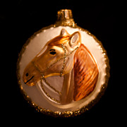 Old Glass Posters - Horse Christmas Ornament Poster by David Patterson