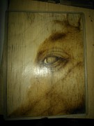 Work Pyrography Prints - Horse Close Up 2 - Work in Progress Print by Cheret Adar