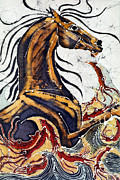 Equine Tapestries - Textiles Metal Prints - Horse Dances in Sea with Squid Metal Print by Carol Law Conklin