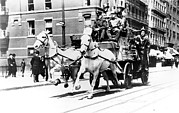 Fire Engine Photos - Horse-drawn Fire Engine In New York by Everett
