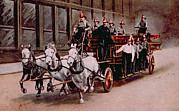 Carriage Horse Photos - Horse-drawn Fire Engine On The Way by Everett